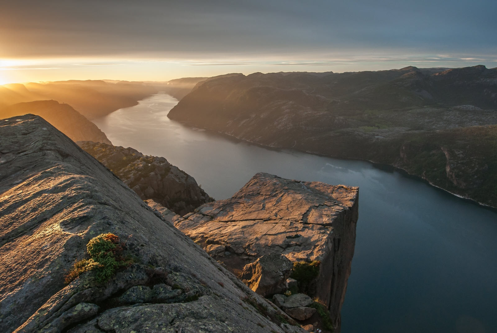 The Pulpit Rock in Rogaland, view over Lysefjorden