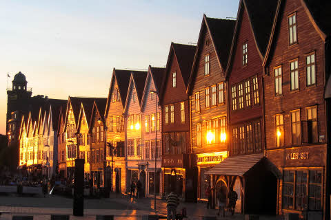 Bergen typical  woodden houses at sunset