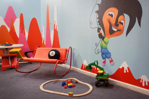 Playroom with toys.