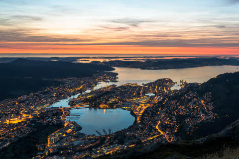 Sunset in Bergen seen from above