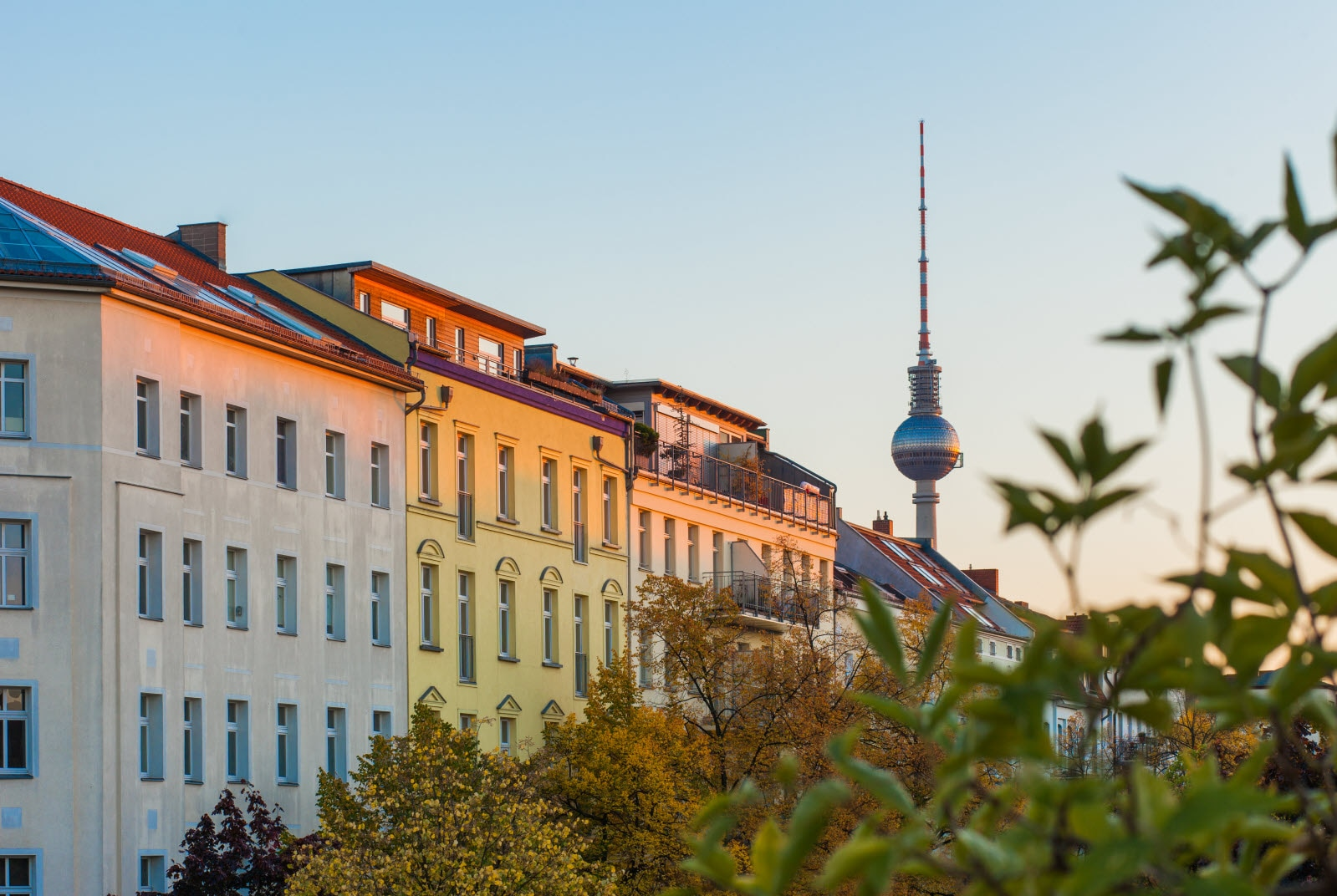 Apartments in Berlin's Prenzlauer Berg neighborhood with Fernsehturm. Mostphotos.com